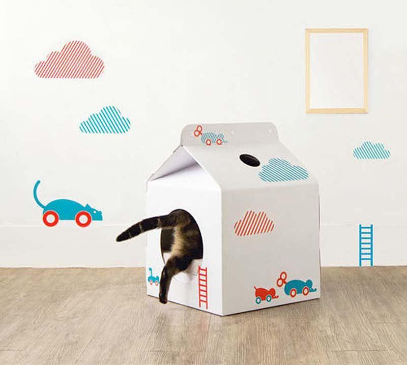 Как сделать домик для кота из коробки своими руками