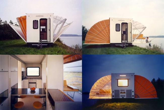 Раскладной концепт, в котором с одной стороны веранда, а с другой спальные места