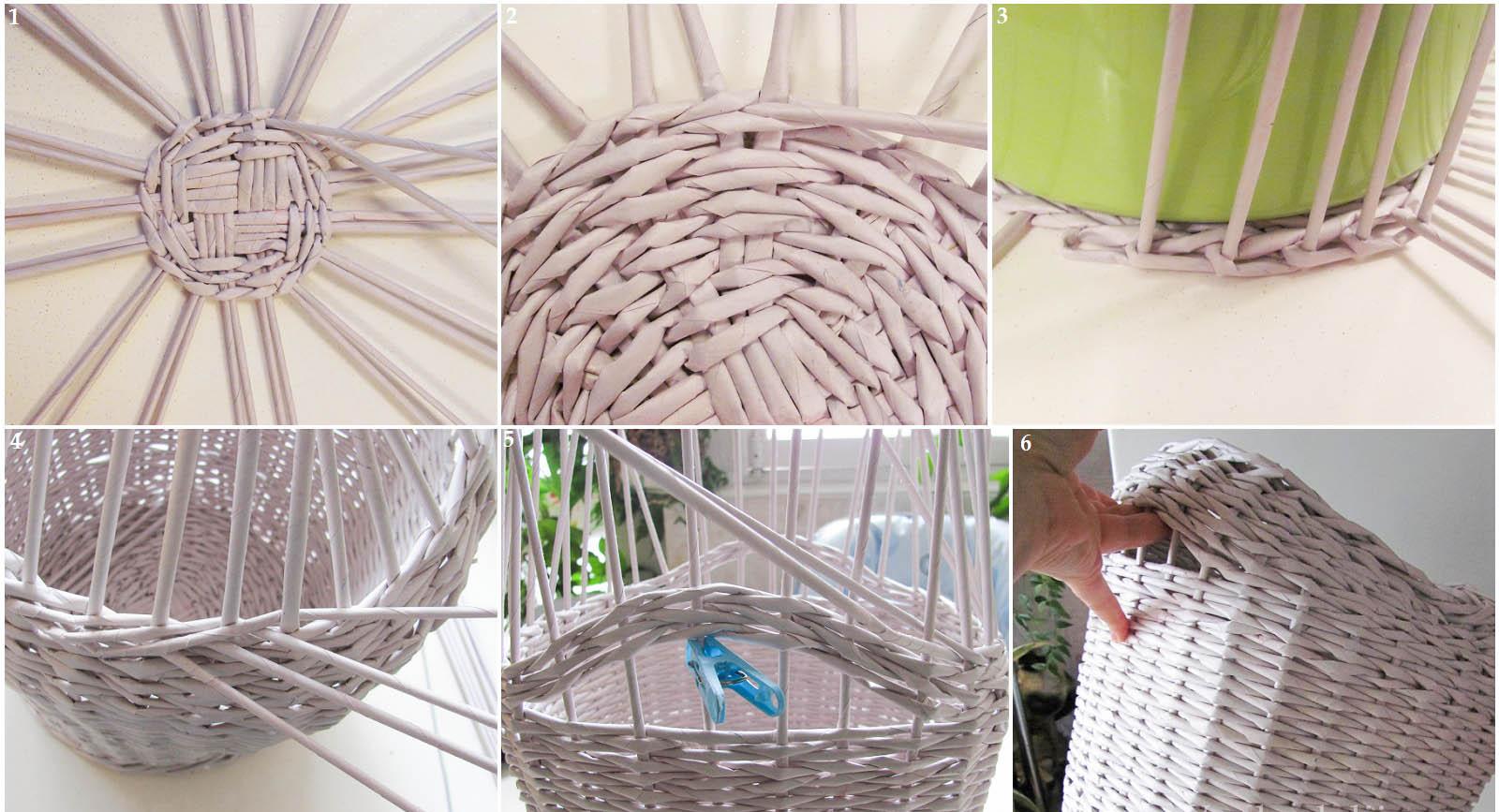 Плетеные корзины из бумаги своими руками