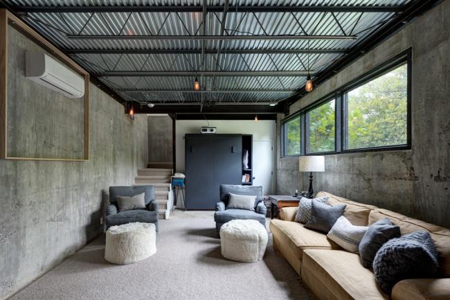 Индустриальный стиль в оформлении гостиной