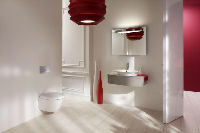Интерьер в стиле модерн с красными аксессуарами