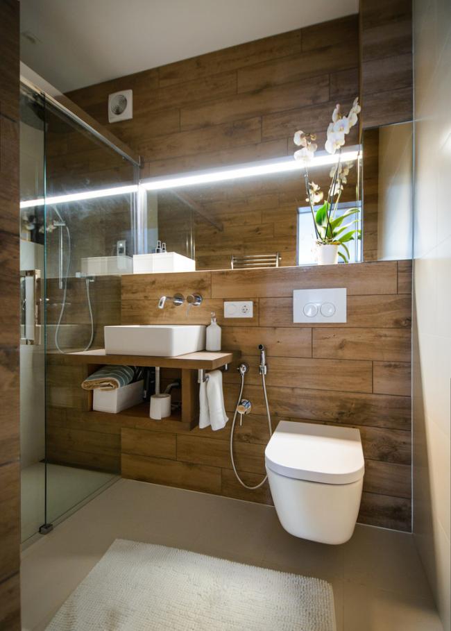 Стильная ванная комната, совмещенная с туалетом