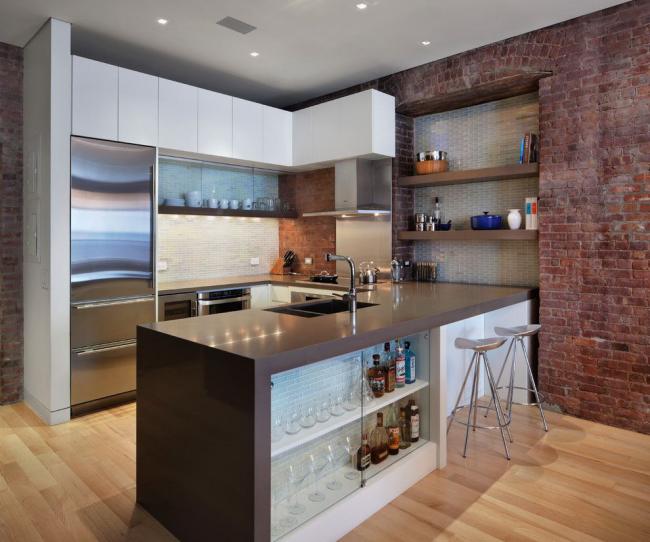 Современный дизайн кухонного уголка в стиле лофт