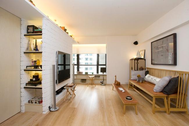 Необычное решение для небольшой гостиной