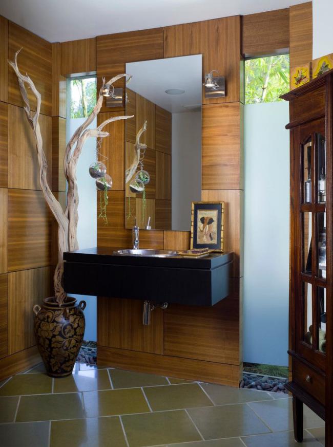 Оригинальный и атмосферный дизайн ванной комнаты