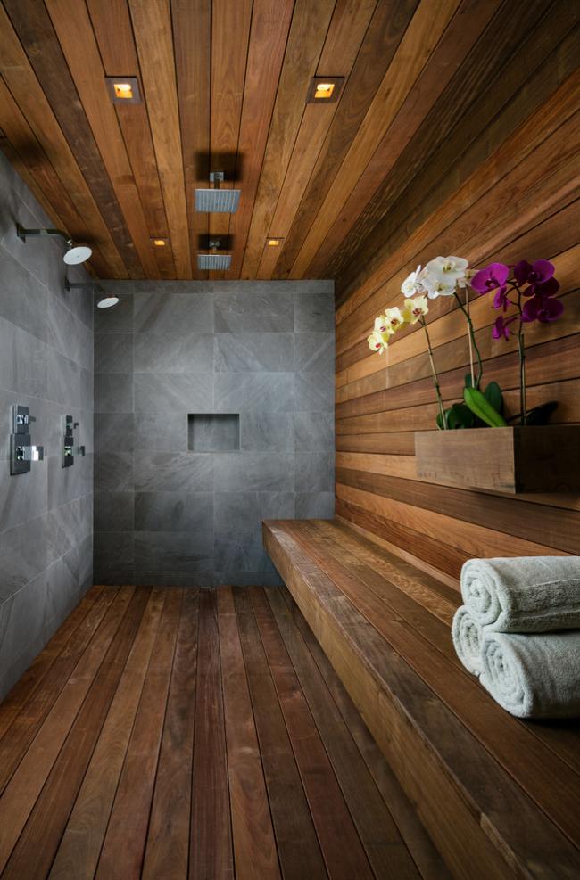 Комбинирование материалов в дизайне душевой комнаты