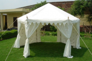 Фото 8 Альтернатива дорогостоящим беседкам: выбираем тент-шатер для дачи