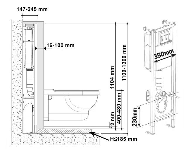 Фото схемы установки подвесного унитаза с сиденьем микролифт