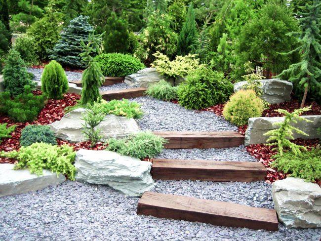 Это не имитация ландшафта, а просто художественная композиция из асимметрично расположенных каменных глыб с дорожками между ними и растительными композициями