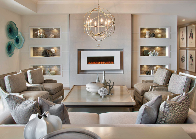 Элегантные бирюзовые тарелки в интерьере гостиной в стиле модерн