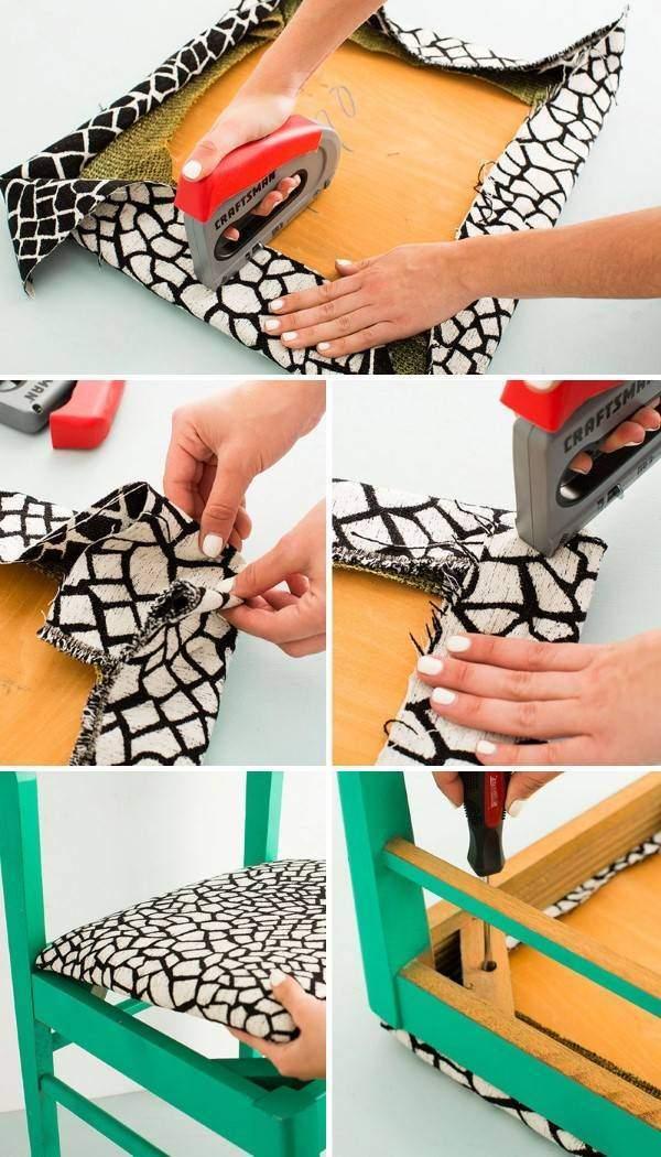 На фото - процесс простой и стильной перетяжки стульчика для кухни