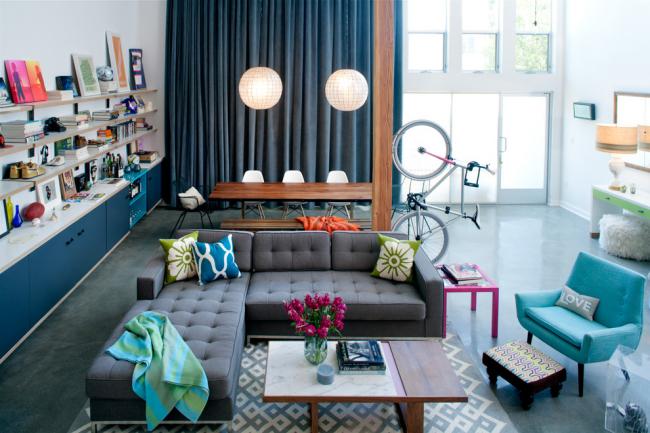 Мебель ярких цветов сделает Ваш дизайн более контрастным