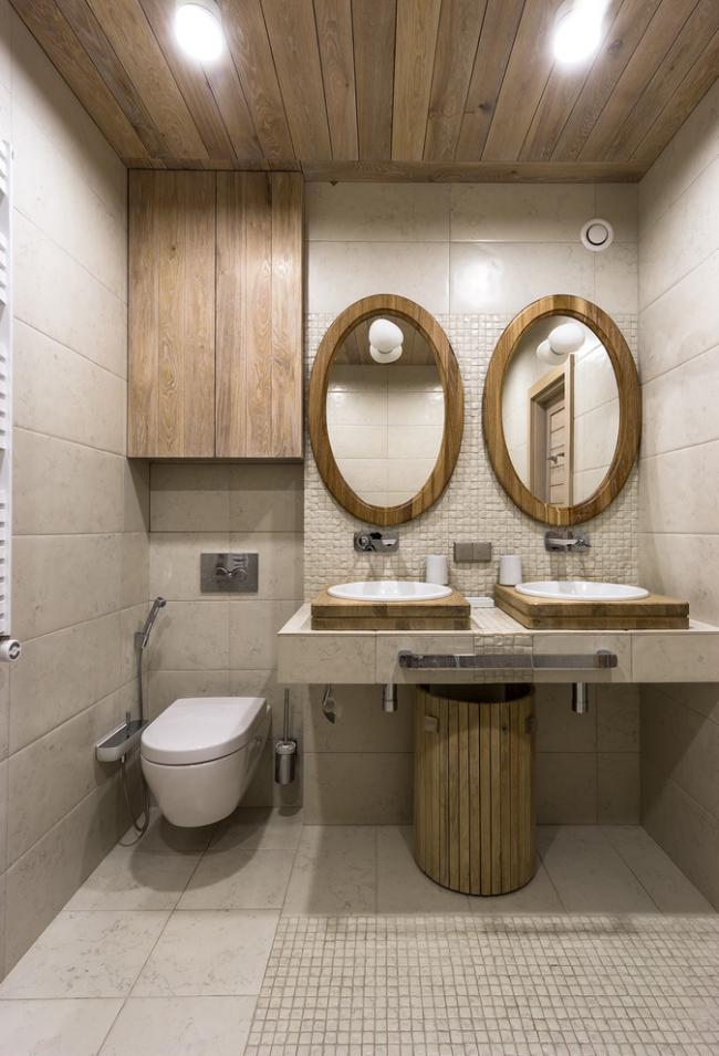 Удачное комбинирование материалов в интерьере ванной комнаты