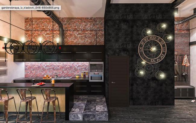 Оригинальное решение для кухни в стиле стимпанк - часы с объемными шестеренками