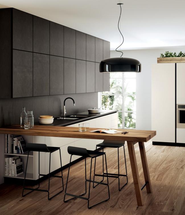 Линейный вид оформления кухонного помещения