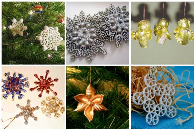 Новогодние игрушки из макаронных изделий