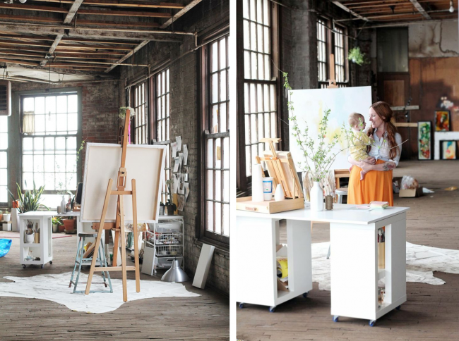 Художественная мастерская с большими окнами