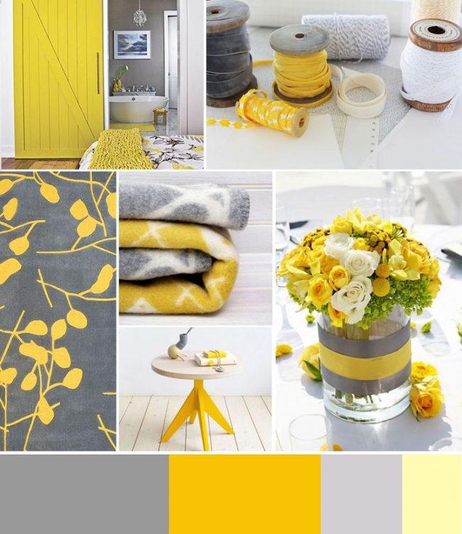 Серый и желтый - классический тандем для оформления кухни