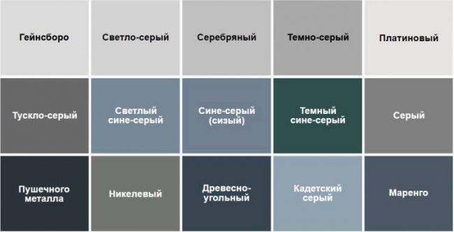 Палитра оттенков серого цвета и возможные сочетания внутри группы