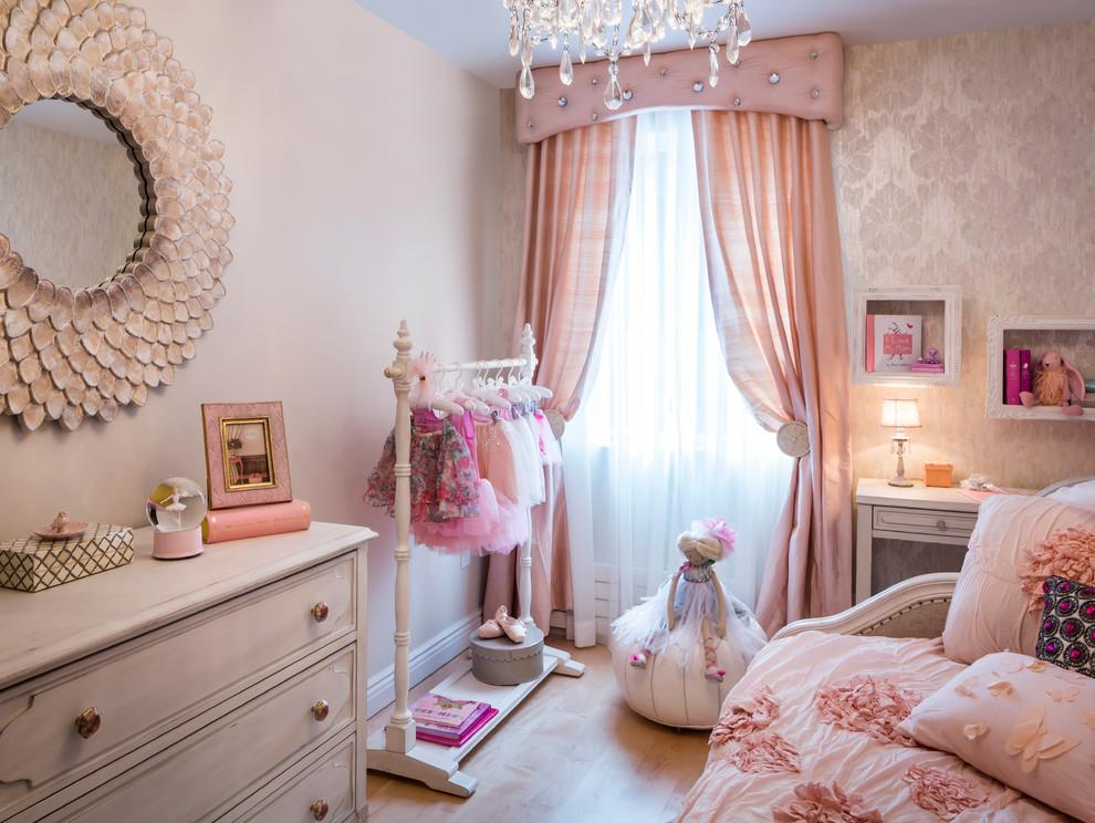Оформление детской комнаты в персиковом цвете с разными по насыщенности оттенками