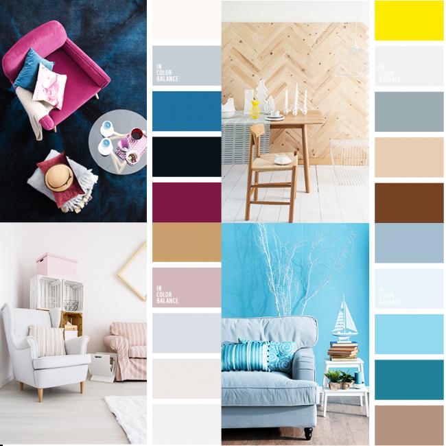 Удачные примеры цветовых сочетаний из дизайнов интерьера 2018 года