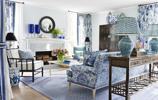 Основная характеристика стиля - креативный флористический рисунок в сине-белом исполнении