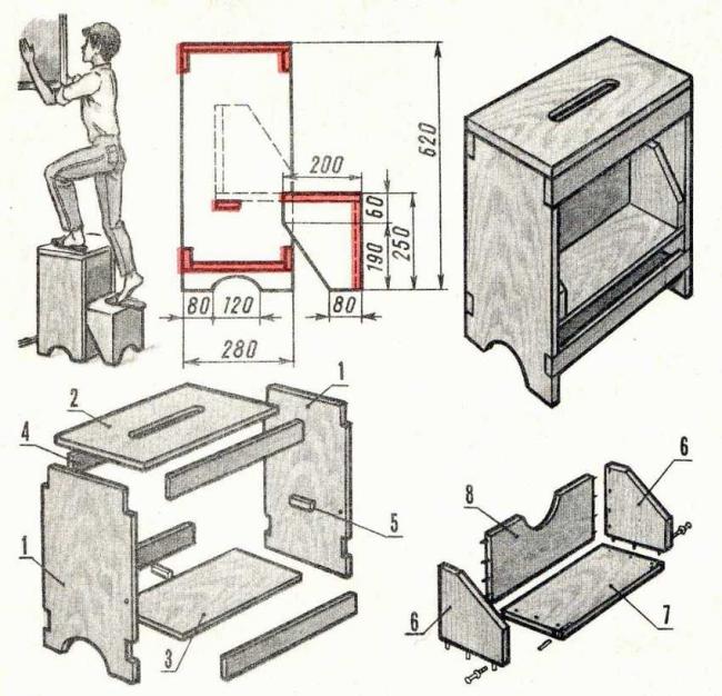 Схема для создания табурета-лестницы своими руками