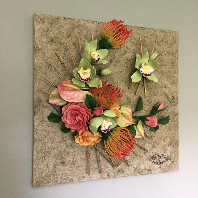 Красивое панно с цветами
