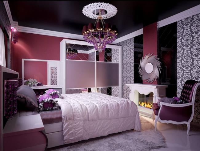 Бело-фиолетовая спальня Обзор стильных интерьеров