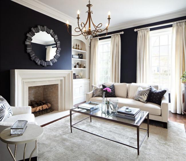 Черные обои создают особую атмосферу в дизайне помещения