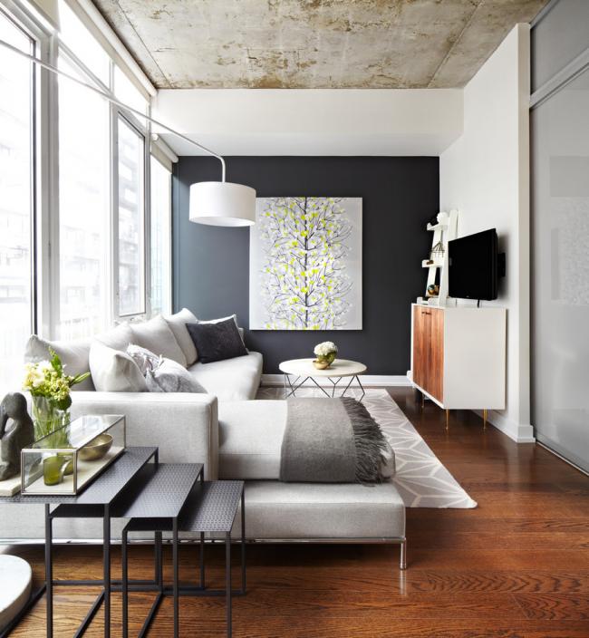 Бетонный потолок в современном интерьере