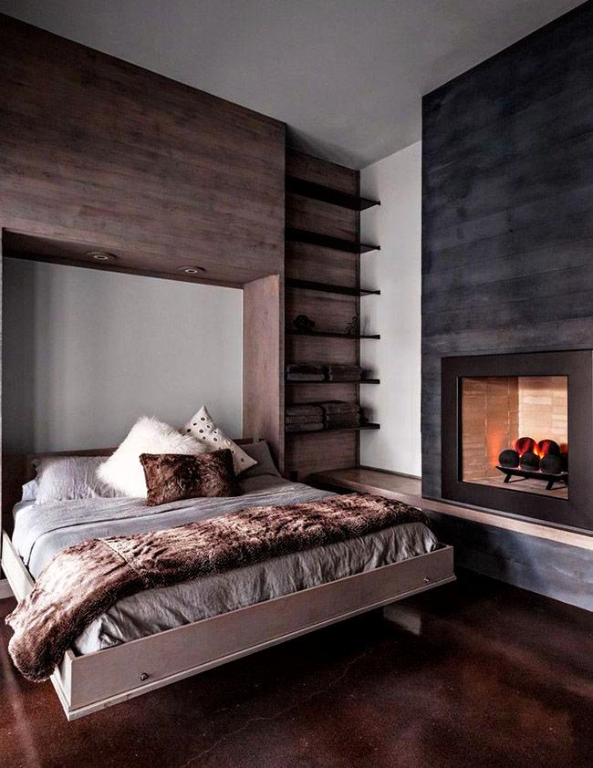 Уютная и функциональная кровать-трансформер в уютном шале в современном стиле