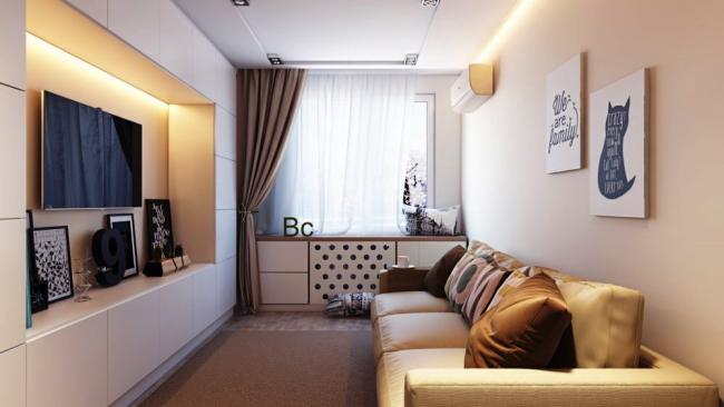 Светлые тона хорошо подходят для малогабаритных квартир