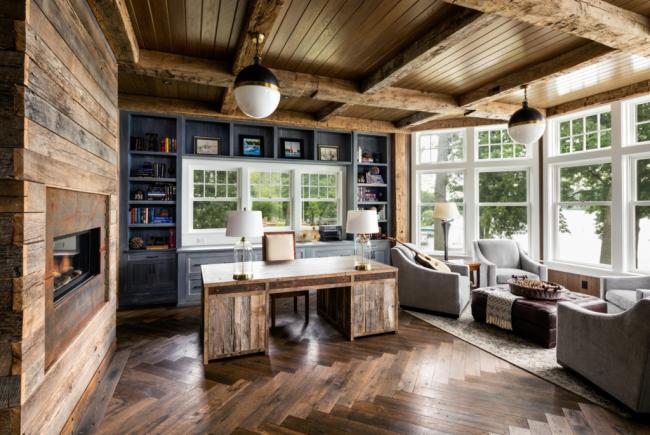 Зонирование с помощью напольного покрытия и цветовой палитры мебели