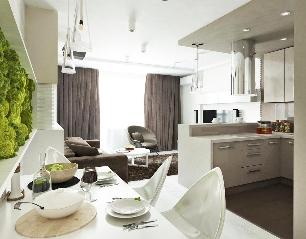 Интерьер узкой кухни-гостиной фото 2016 современные идеи