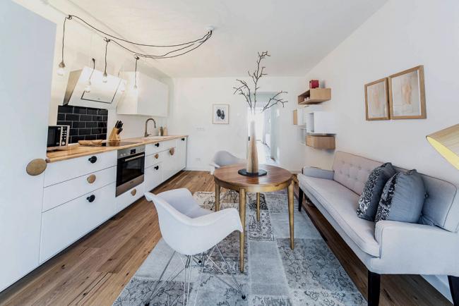 Линейный вариант расстановки кухонной мебели