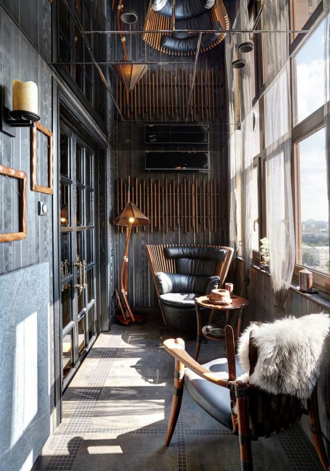 Стильное оформление небольшого балкона
