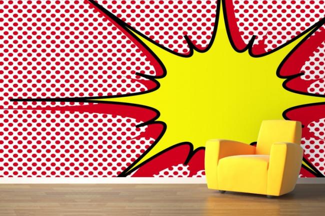 Взрывная игра цвета и формы в обоях стиля поп-арт