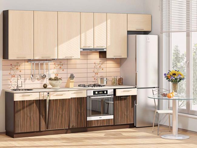 Прямая кухня освобождает много пространства