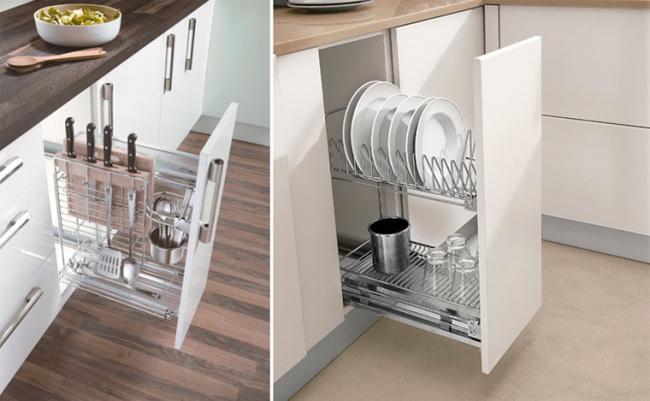 Удобная и функциональная система хранения кухонной утвари