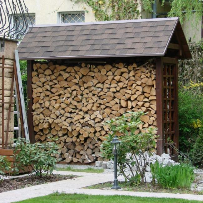 Аккуратный навес для дров с качественной крышей