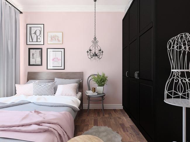 Контрастный черный шкаф с нежно-розовыми тонами в эклектичном интерьере
