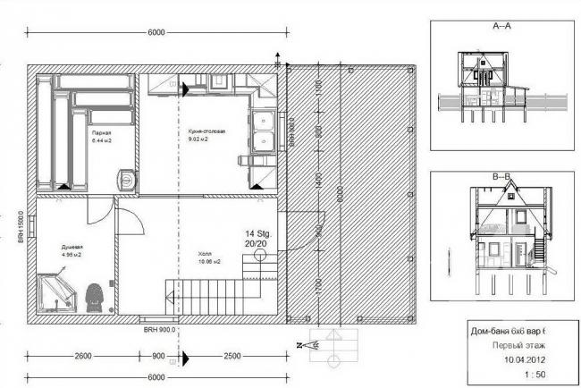 Схема проекта бани 6 на 6 с мансардой