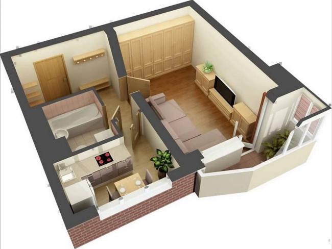 3D-модель позволяет полностью рассмотреть предлагаемый интерьер