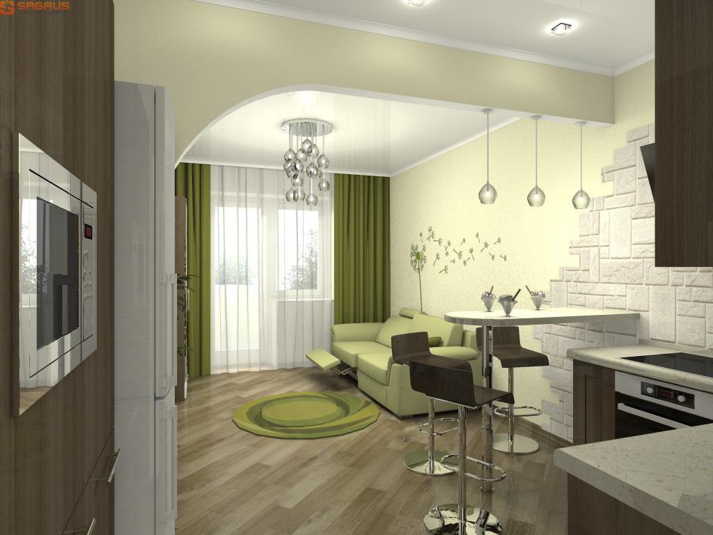 Дизайн студии 25 кв.м с балконом интерьер и планировка.