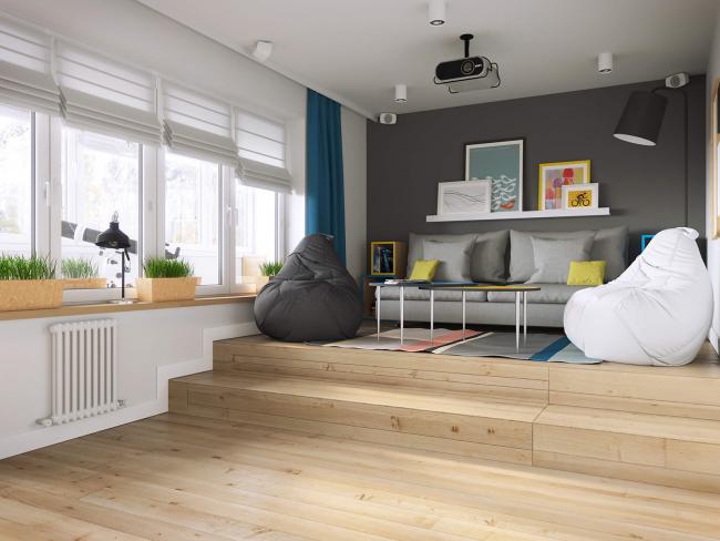 Подиум вносит определенную изюминку в интерьер квартиры