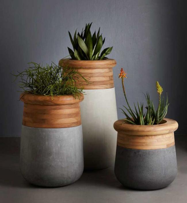 Интересный вариант сочетания дерева с бетоном