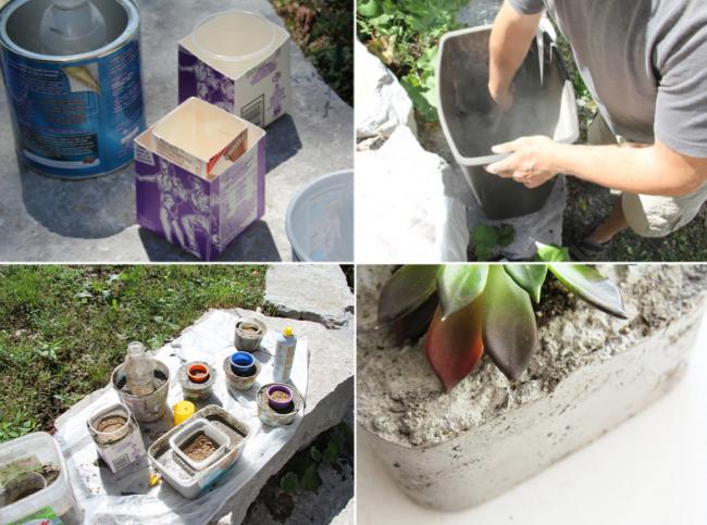 Любая гнущаяся ёмкость подойдет для создания бетонного цветочного горшочка