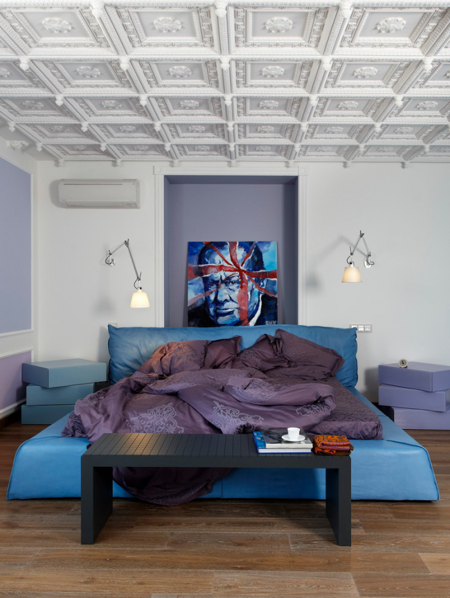 Потолочная плитка хорошо смотрится в современном дизайне