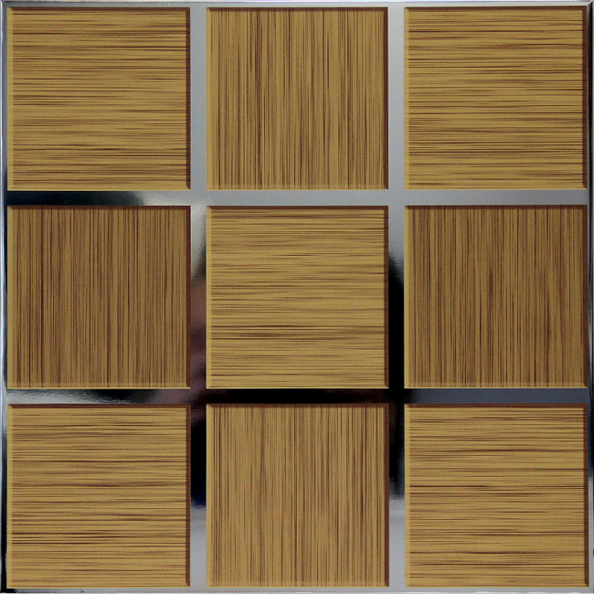 Потолочная кассета Caveen 300x300 H005 зеркало + имитация дерева